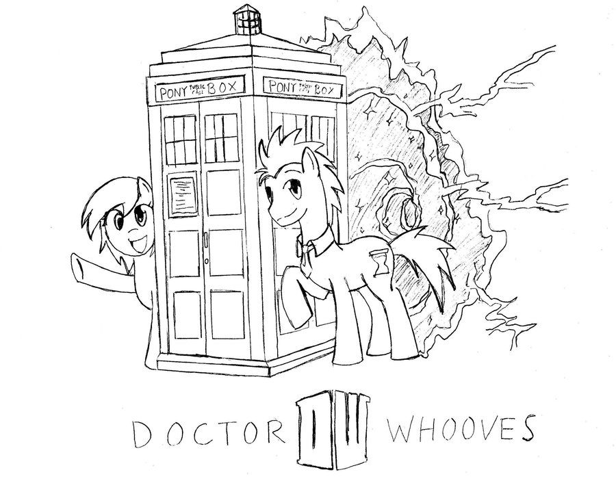 Doctor Who Coloring Pages Pdf : Lineart derpy doctor whooves steampunk by tinuleaf on