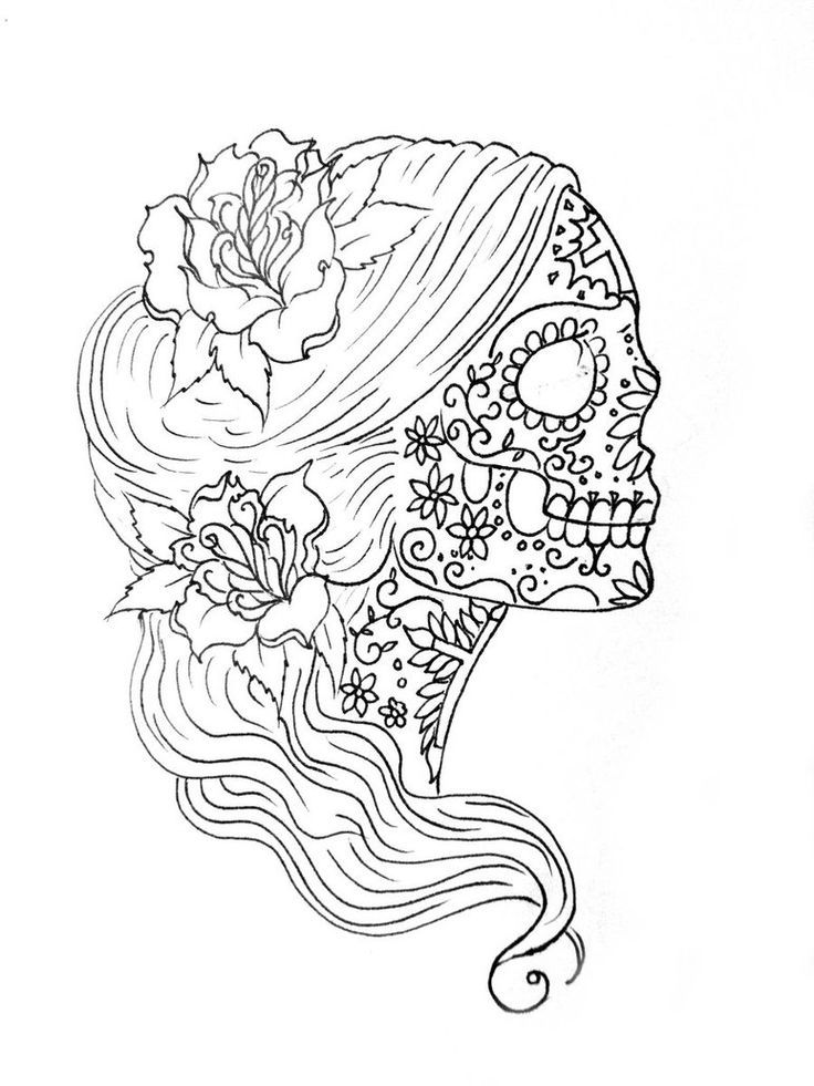 14 Pics Of Simple Candy Skull Coloring Pages - Sugar Skull