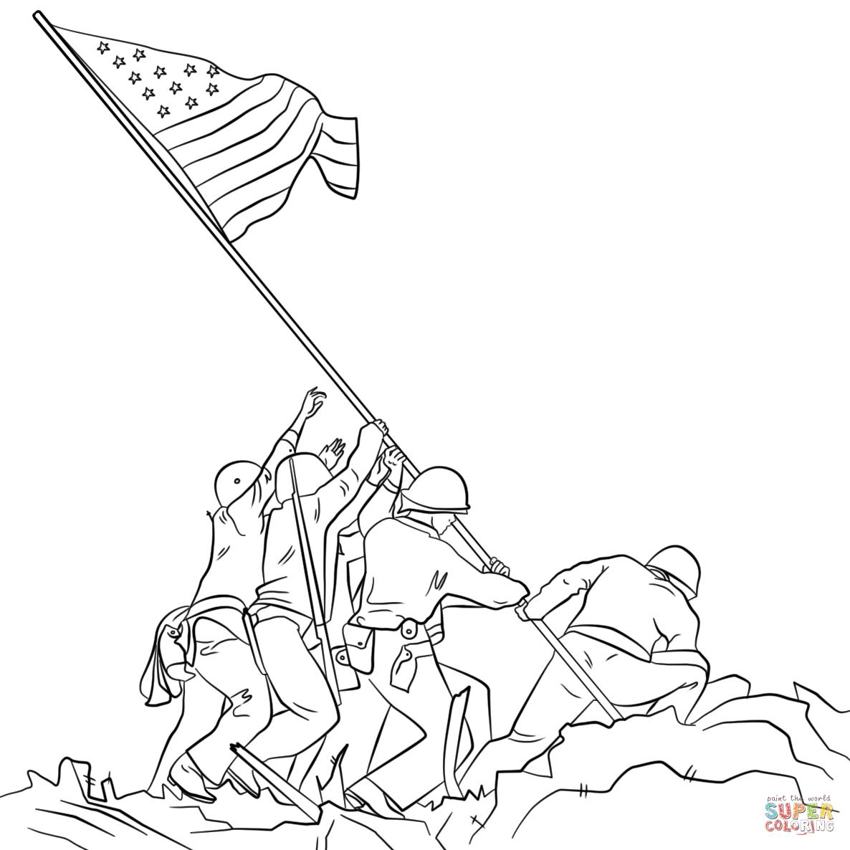 raising the flag on iwo jima coloring page free printable
