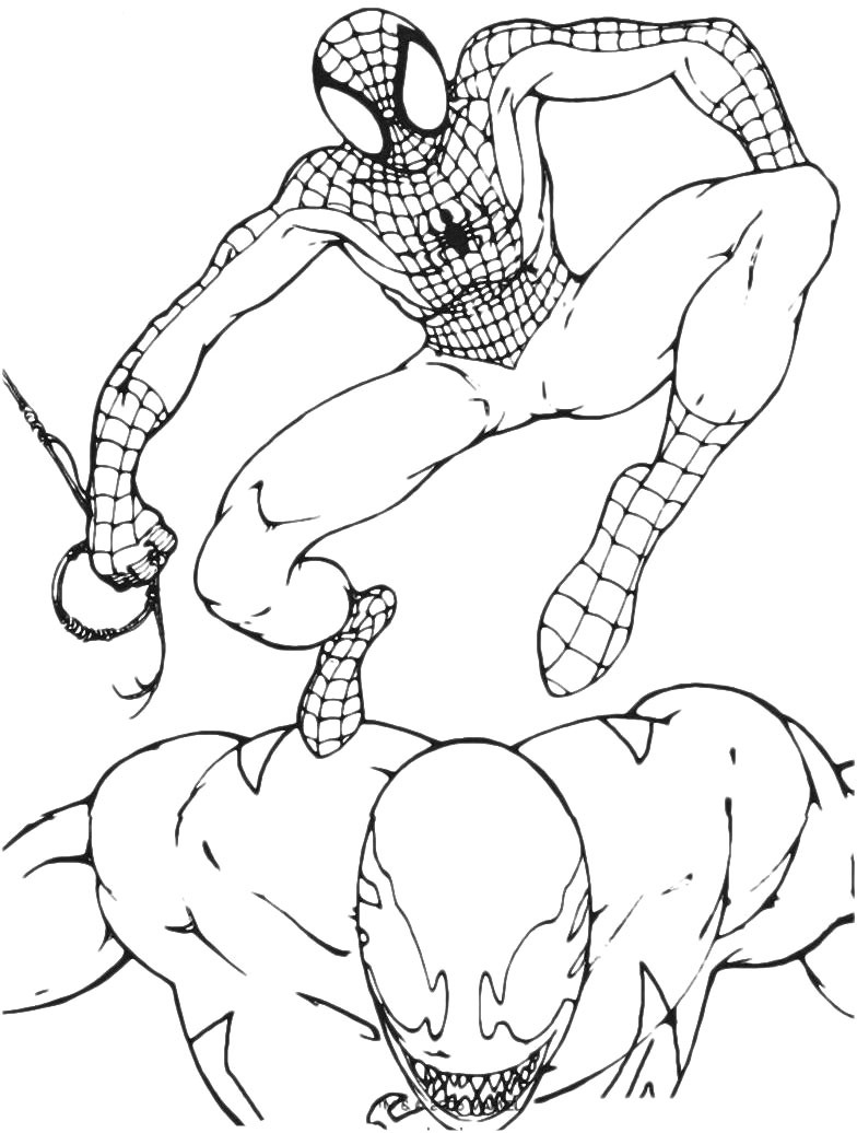 spiderman vs venom coloring page coloring home