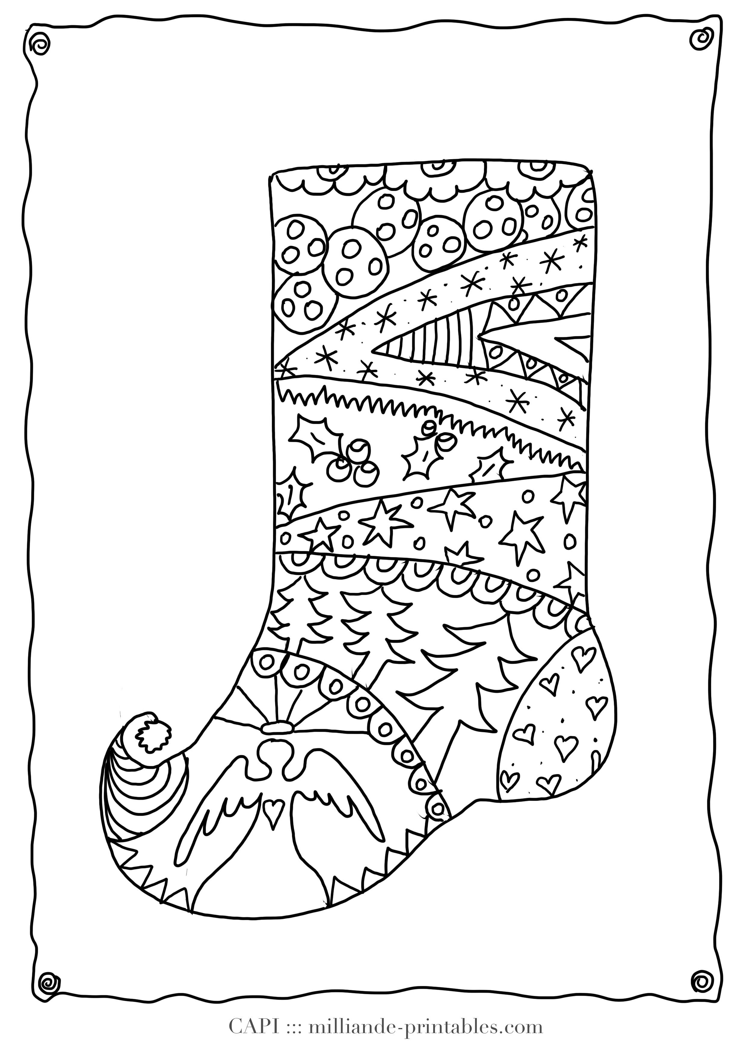 Coloring Sheets Christmas Stocking : Christmas adult coloring pages home