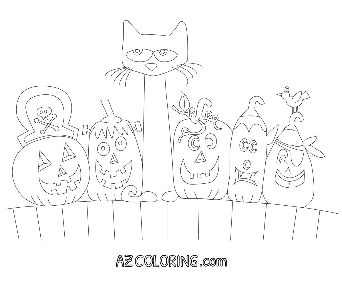 Pete The Cat Halloween Printable Coloring Page Coloring Home
