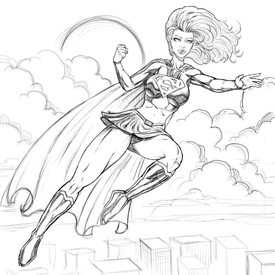 Supergirl Coloring Pages Logo Kids
