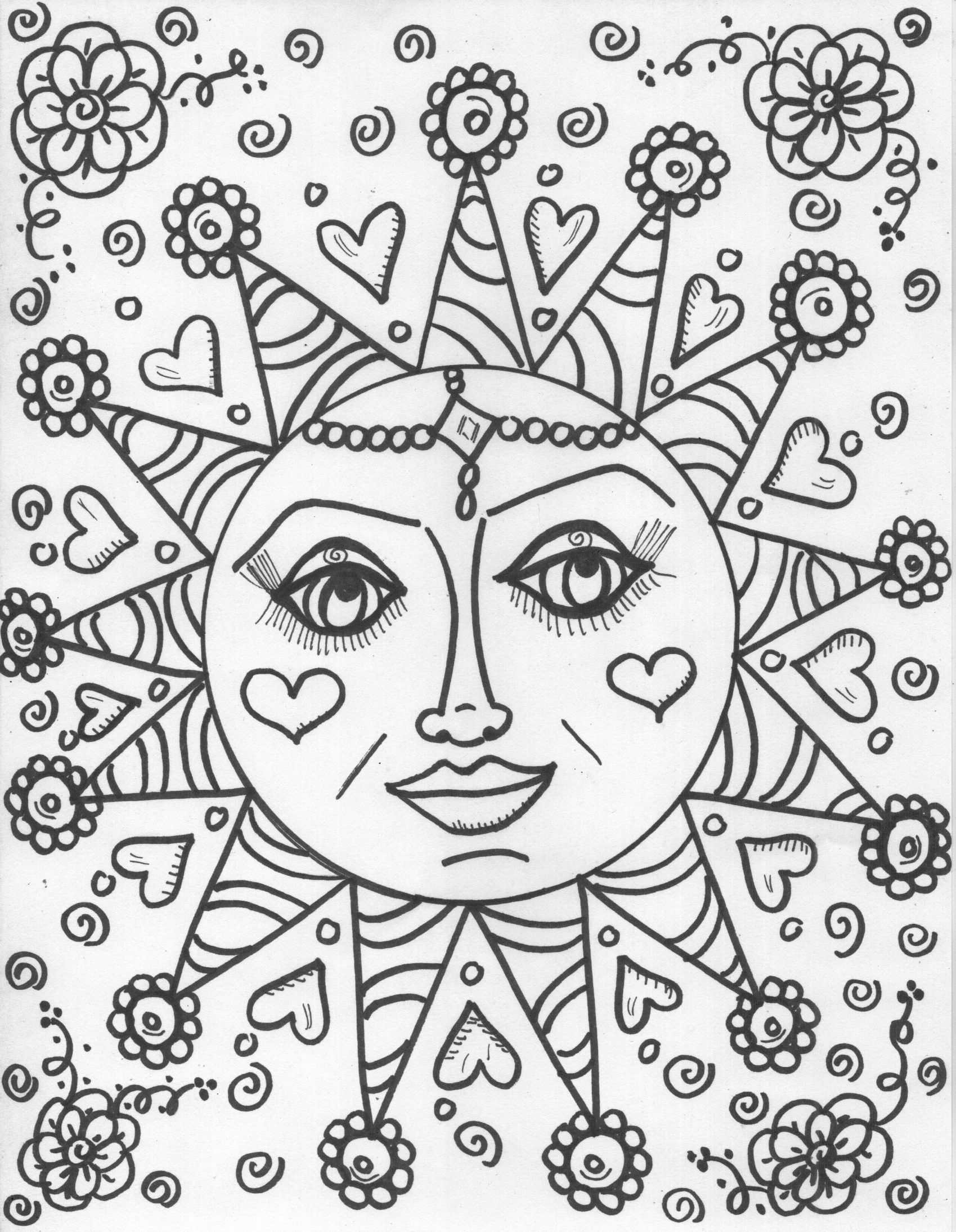 hippie coloring pages free - photo#23