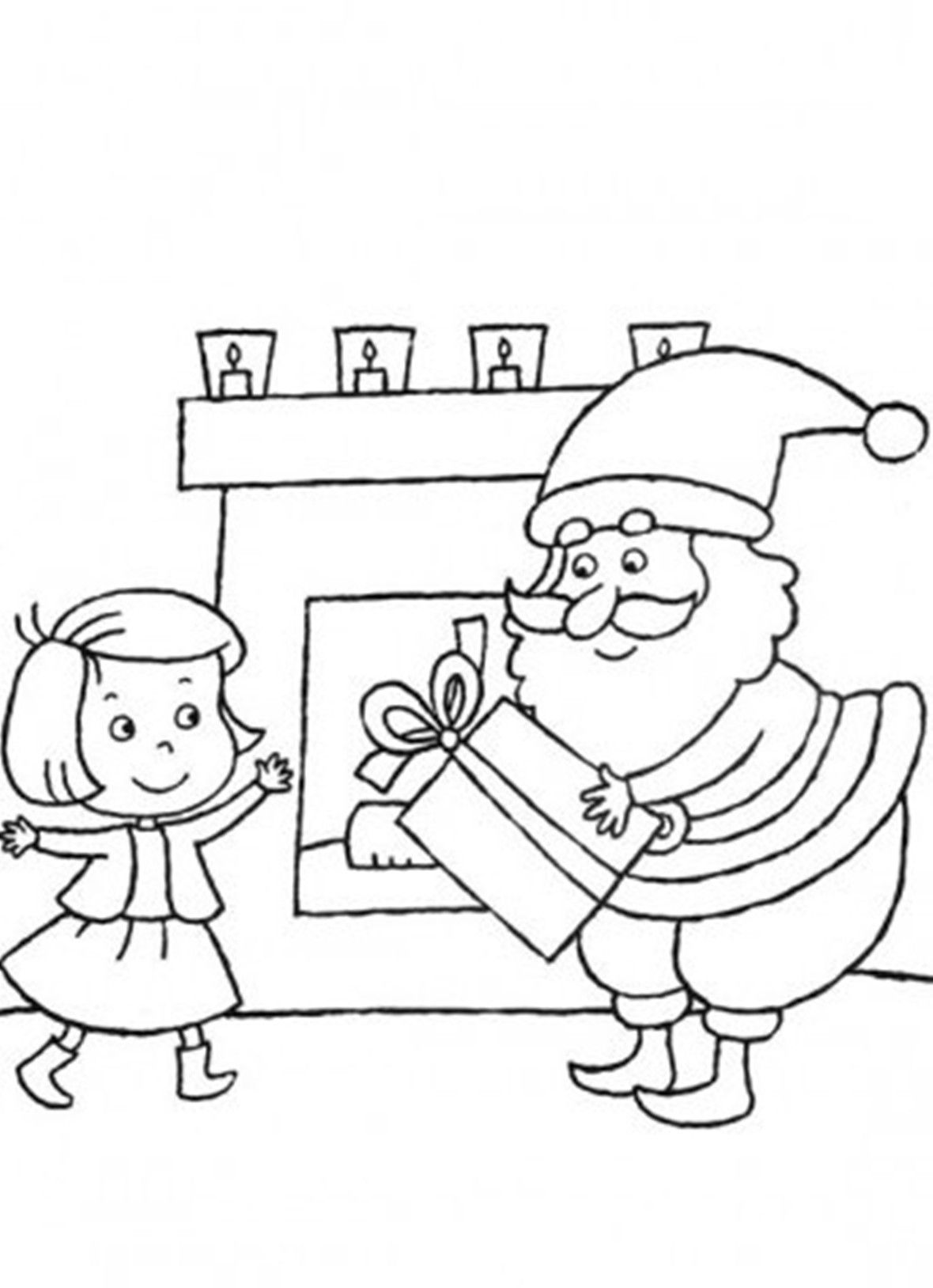 Christmas Coloring Pages Santa Delivering Gift For Little Girl ...
