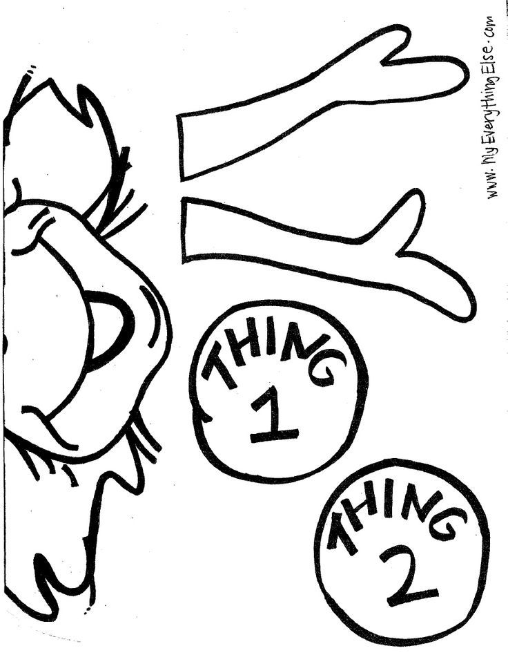 Thing 1 And Thing 2 Coloring Pages Dr Seuss