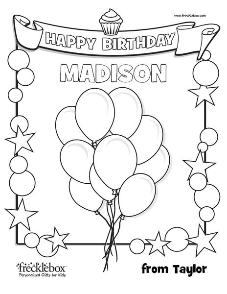 Personalized Birthday Coloring Page | Frecklebox– frecklebox