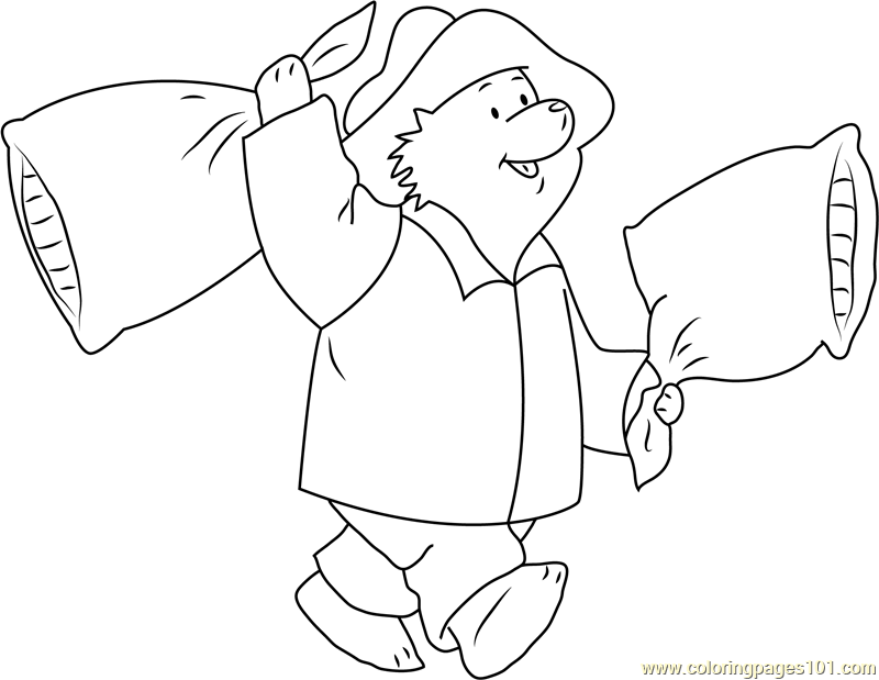 Paddington Bear going to Sleep Coloring Page - Free Paddington Bear Coloring  Pages : ColoringPages101.com