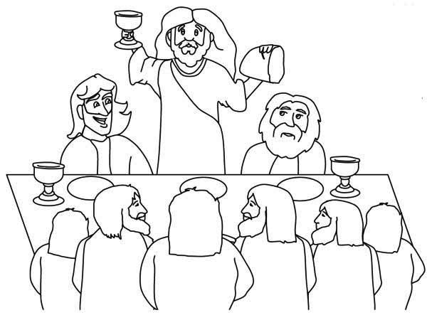 Jesus And His Disciples In The Last Supper Coloring Page