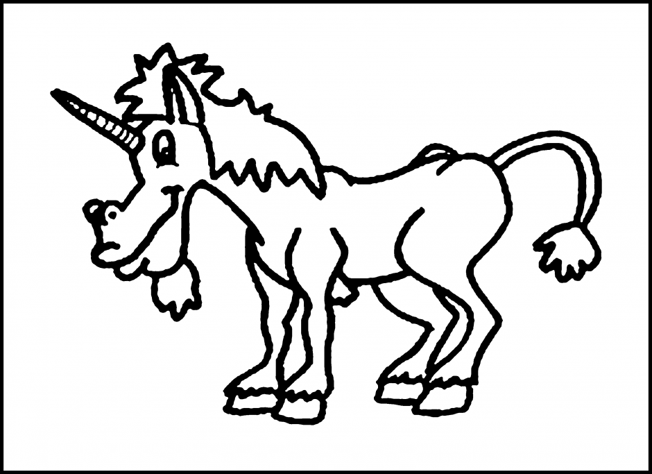 Unicorn Outline - Coloring Home
