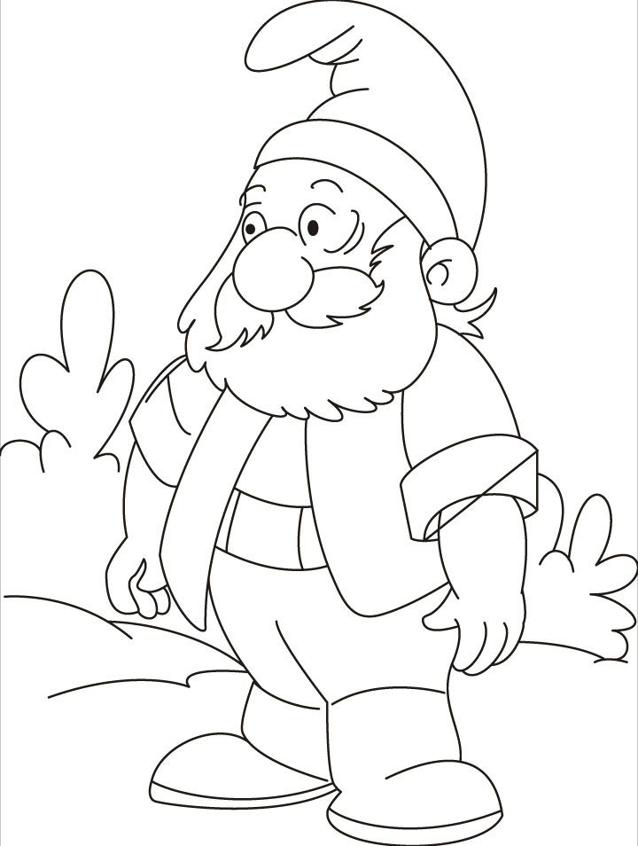 gnome coloring pages inspire kids - Gnome Coloring Pages 2