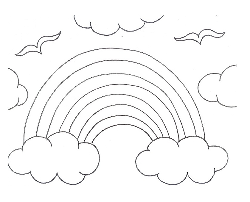 Black And White Rainbow Coloring Page Az Coloring Pages Black And White Colouring Pages