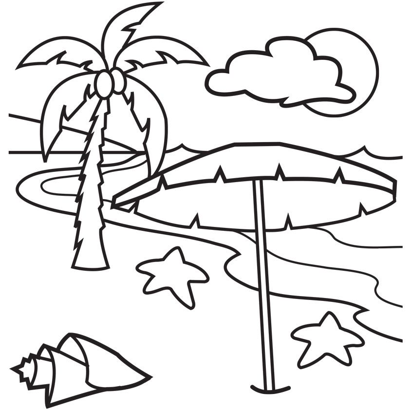 Beach Umbrella Coloring Pages Coloring Home