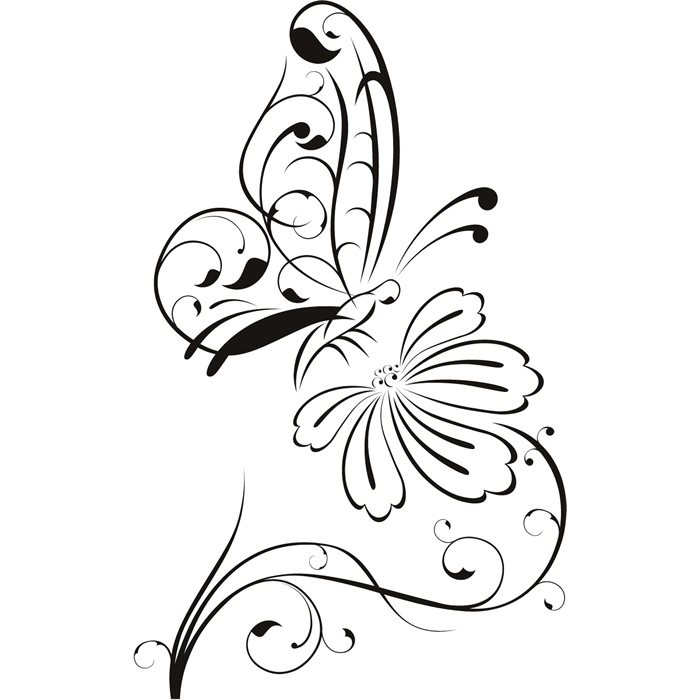 Wall Art Butterfly Outline Sketch Coloring Page