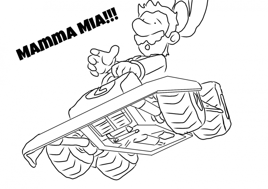 Mario Kart Coloring Page Coloring Home