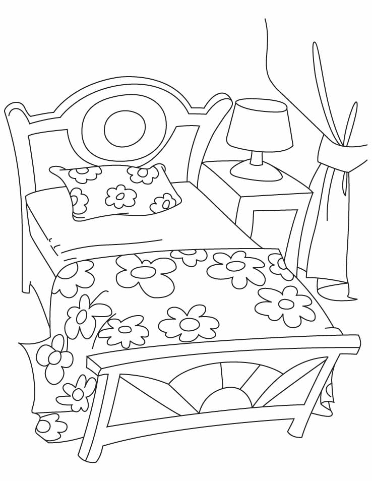 Bed Coloring Pages Home