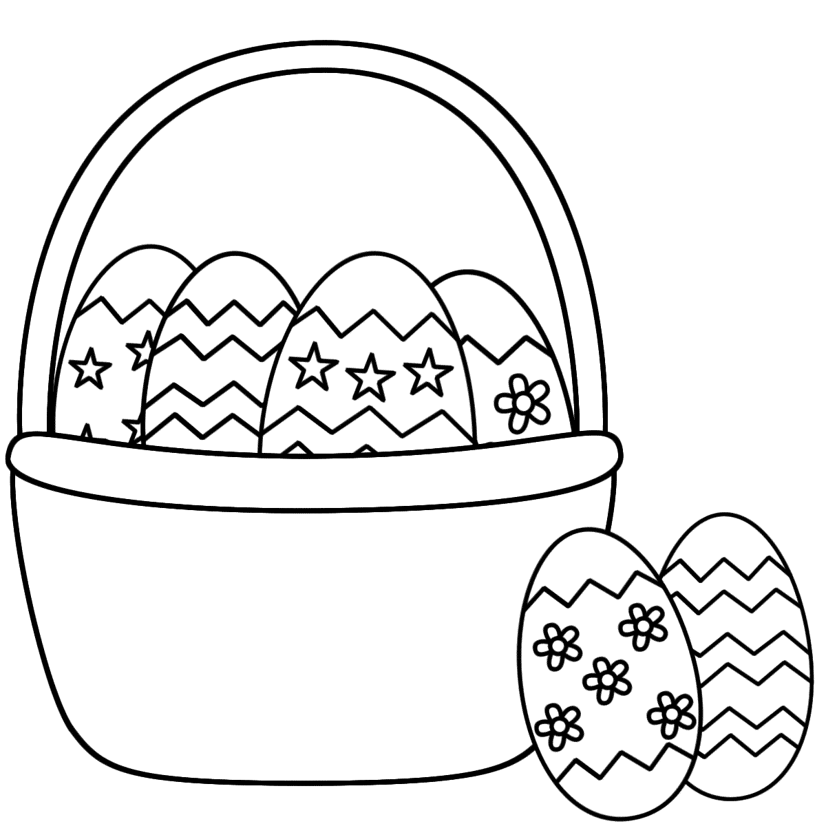 Easter Egg Basket Colouring Pages