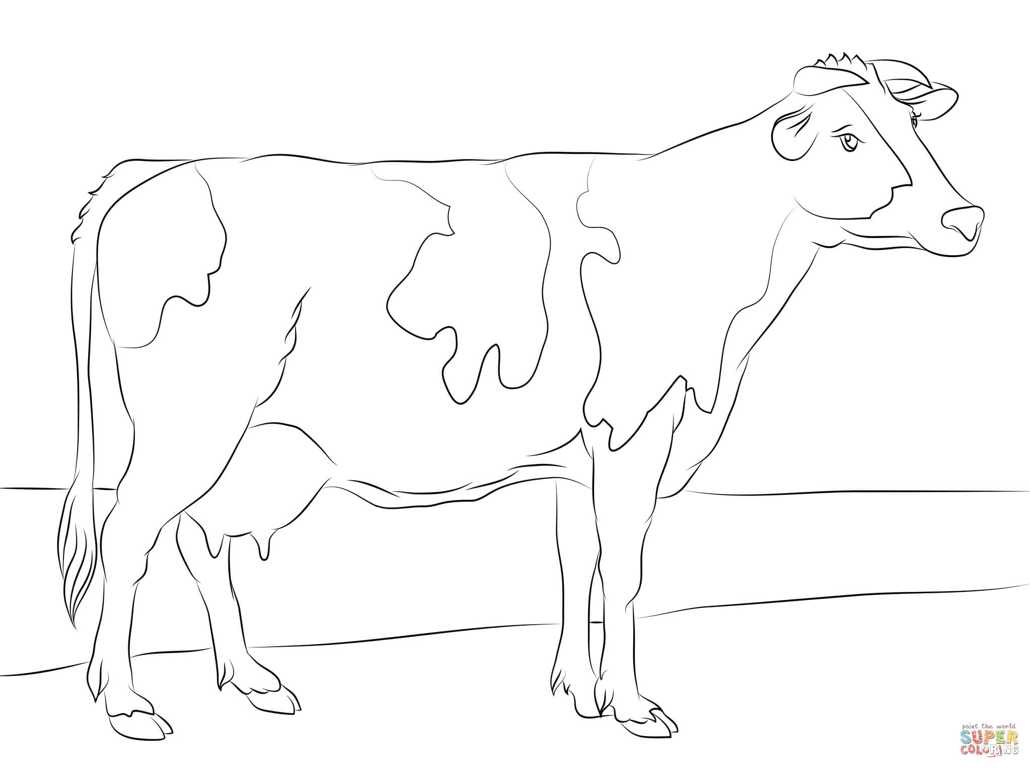 Holstein Cow Coloring Page Free Printable Coloring Pages Coloring Home