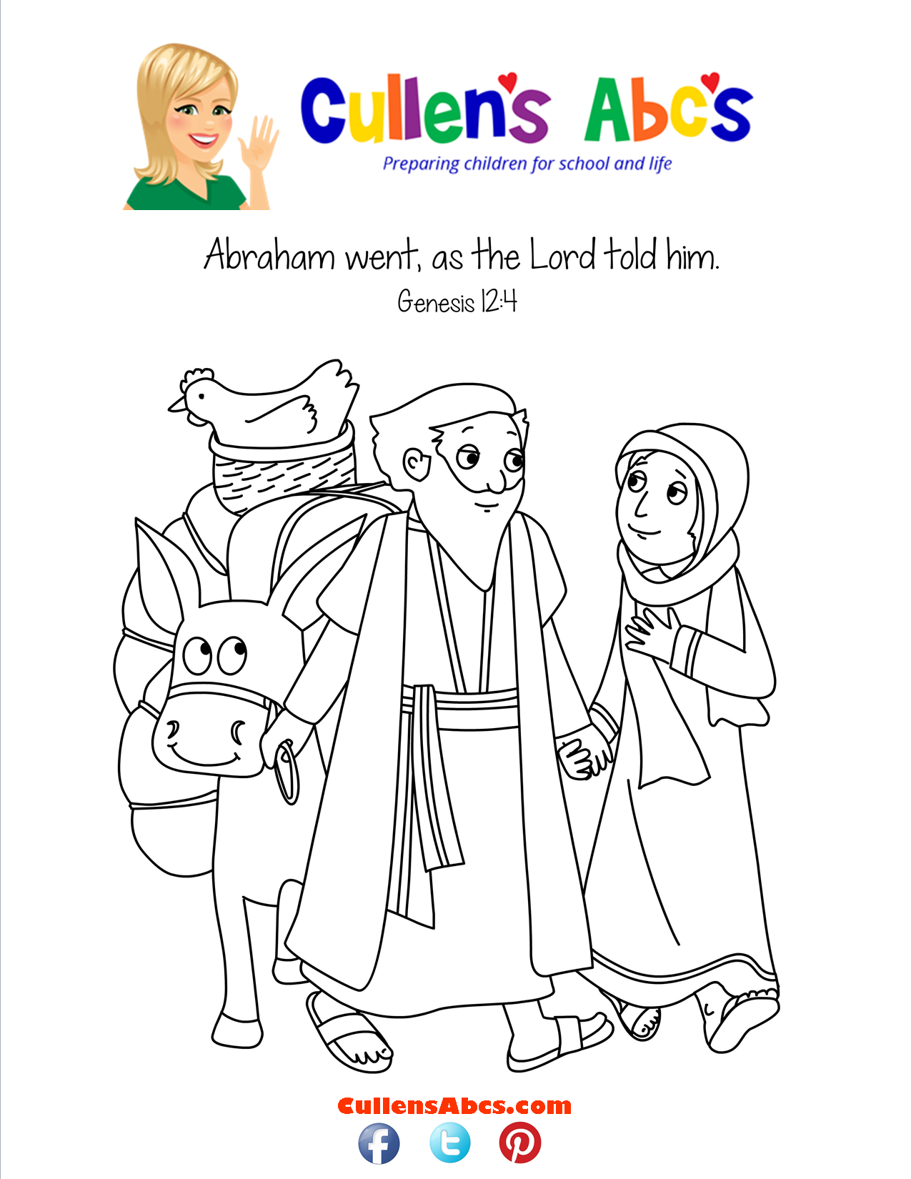 bible memory verse coloring page a new home abraham sarah