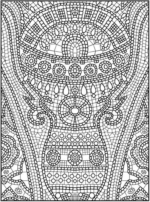 mosaic colouring coloring pages for kids and for adults