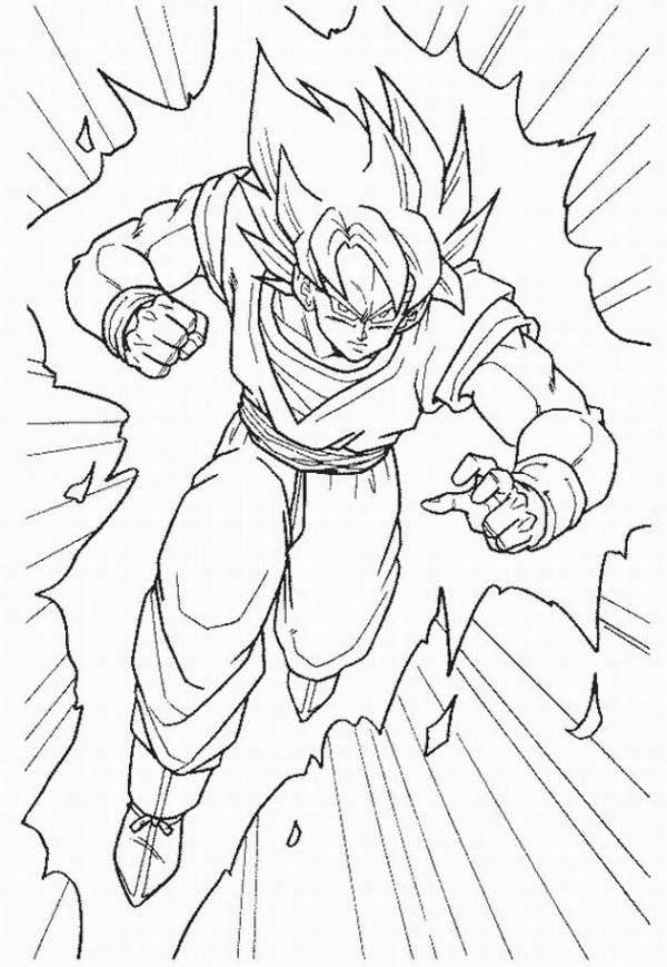 Goku Super Saiyan Form In Dragon Ball Z Coloring Page ...