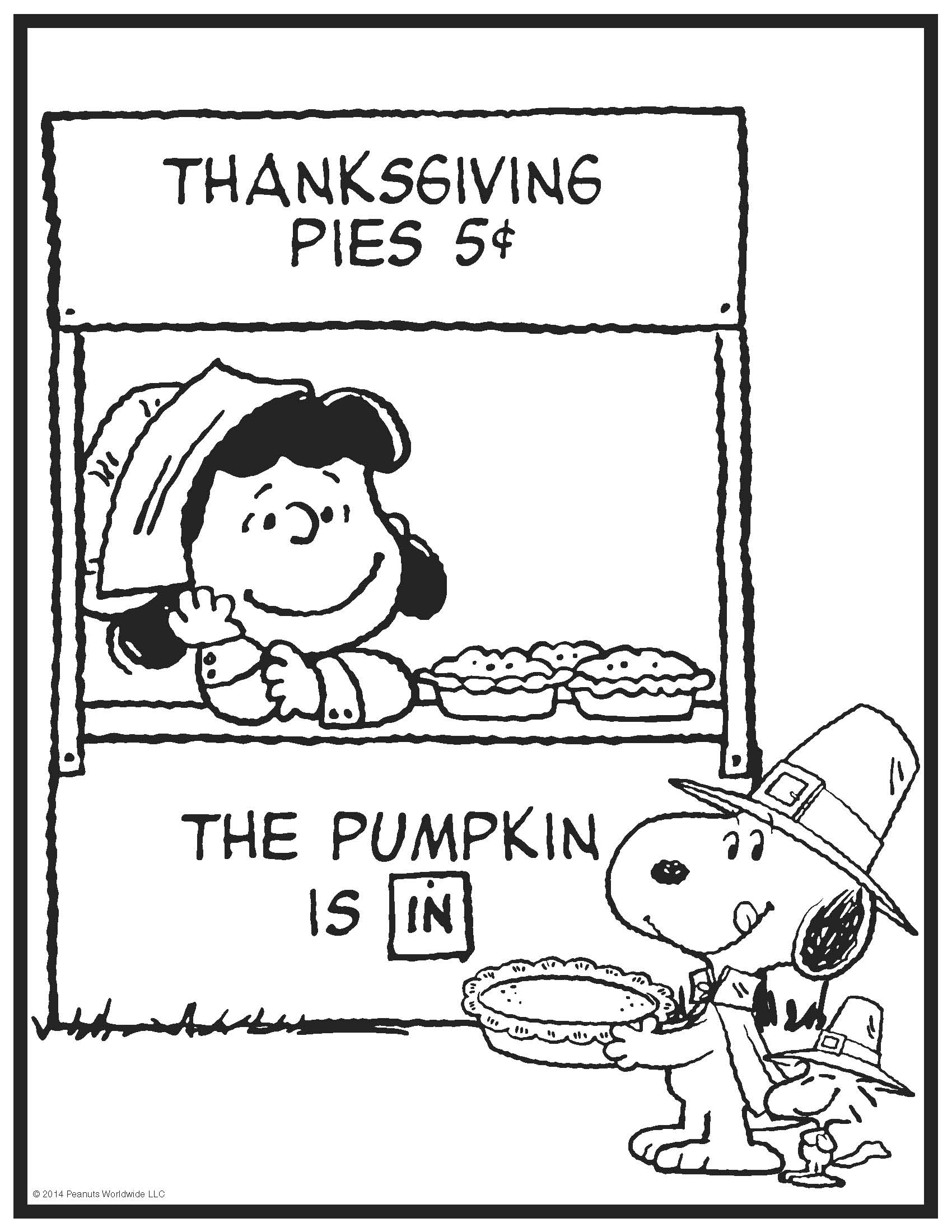 Peanuts Characters Thanksgiving Coloring Pages - Coloring Home