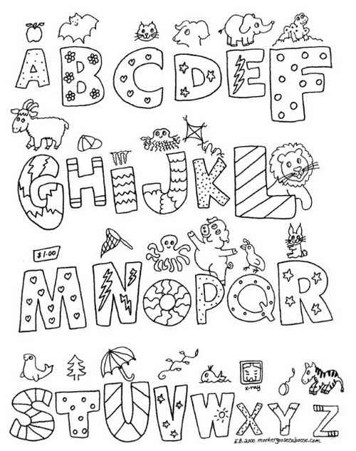 christmas alphabet coloring pages a z alphabet letters black and white a z