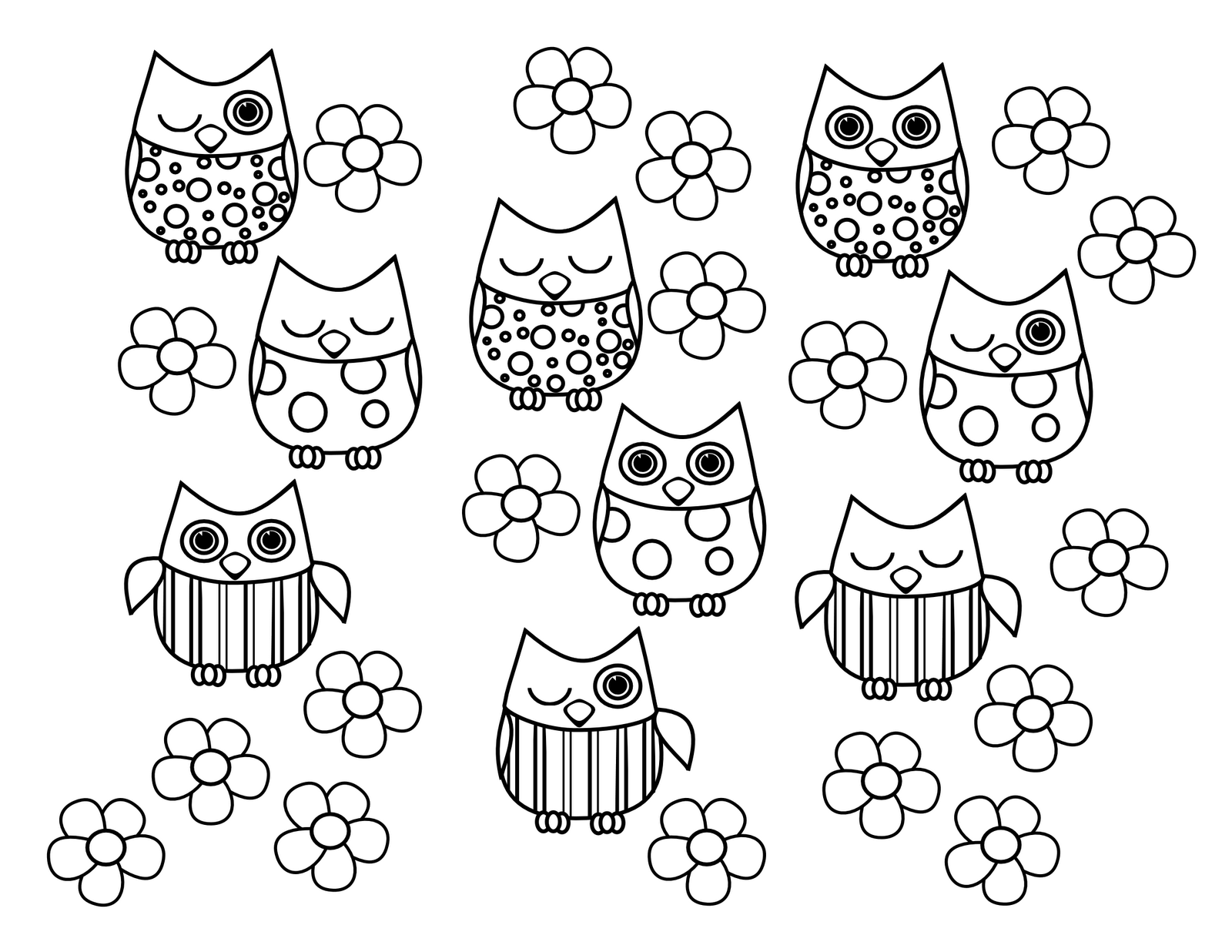 coloring pages of cute owls - photo#11