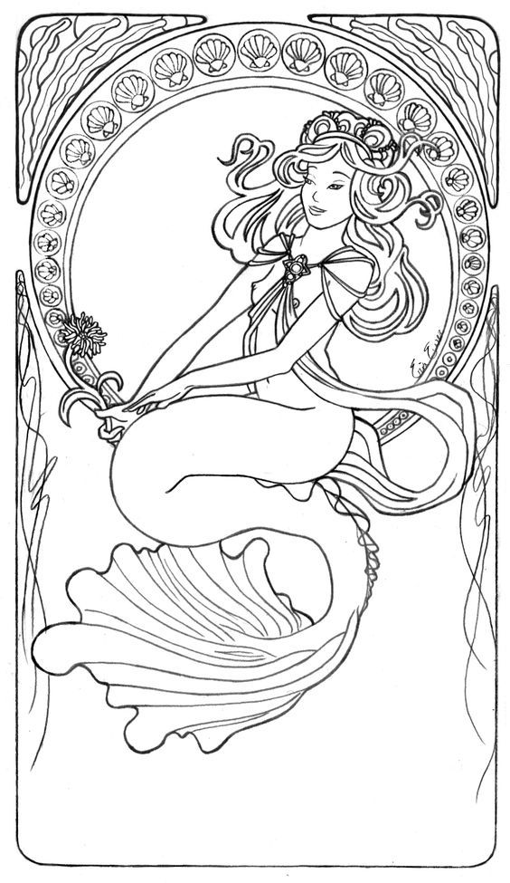 Image detail for -Mucha Mermaid Line Art by =LiquidFaeStudios on ...