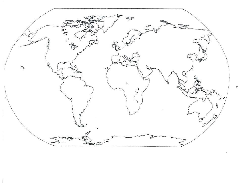 World Map Black And White Continents Goseekit Image ...