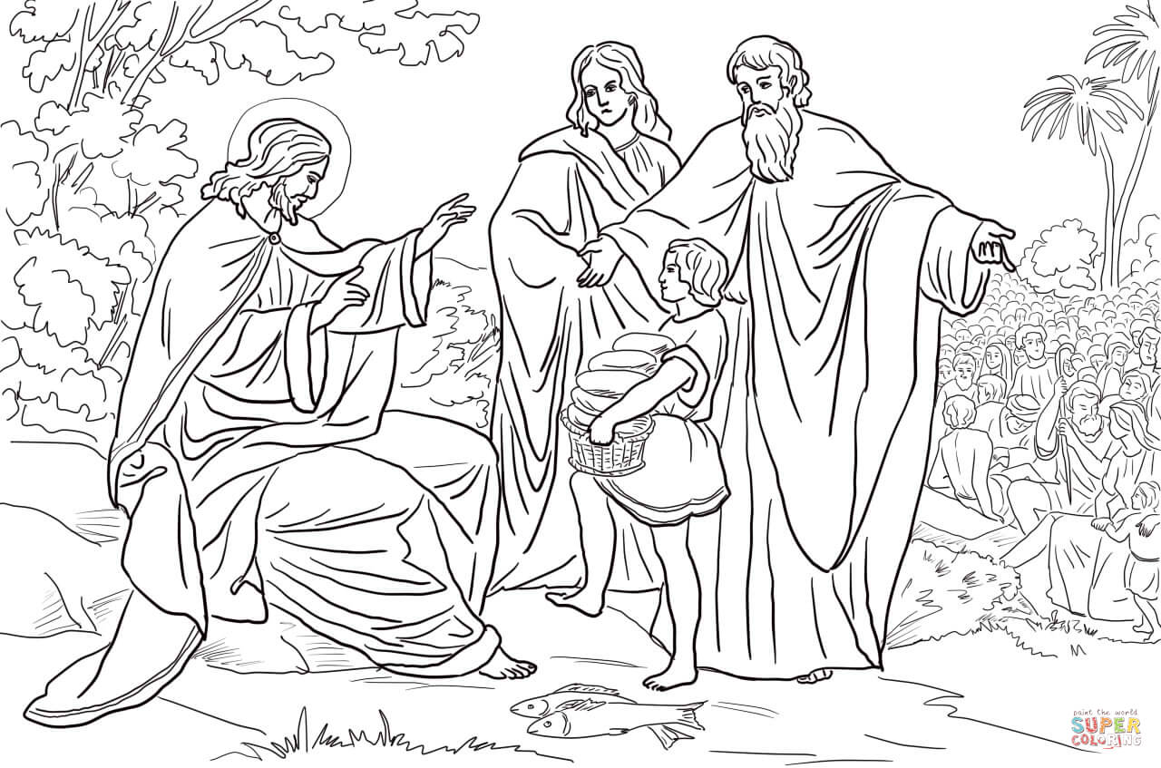 Jesus Feeds The Five Thousand Coloring Page Coloring Home