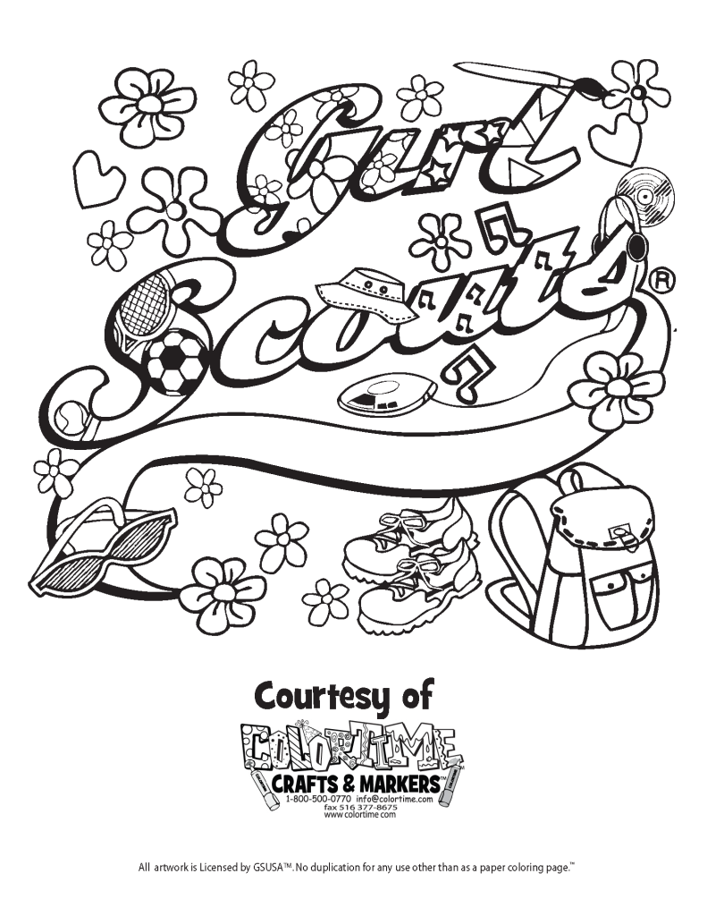 Free coloring pages for girl scouts - Girl Scout Coloring Pages For Kids And For Adults