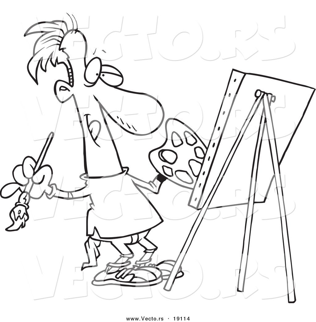 Vector of a Cartoon Male Artist Painting His Masterpiece ...