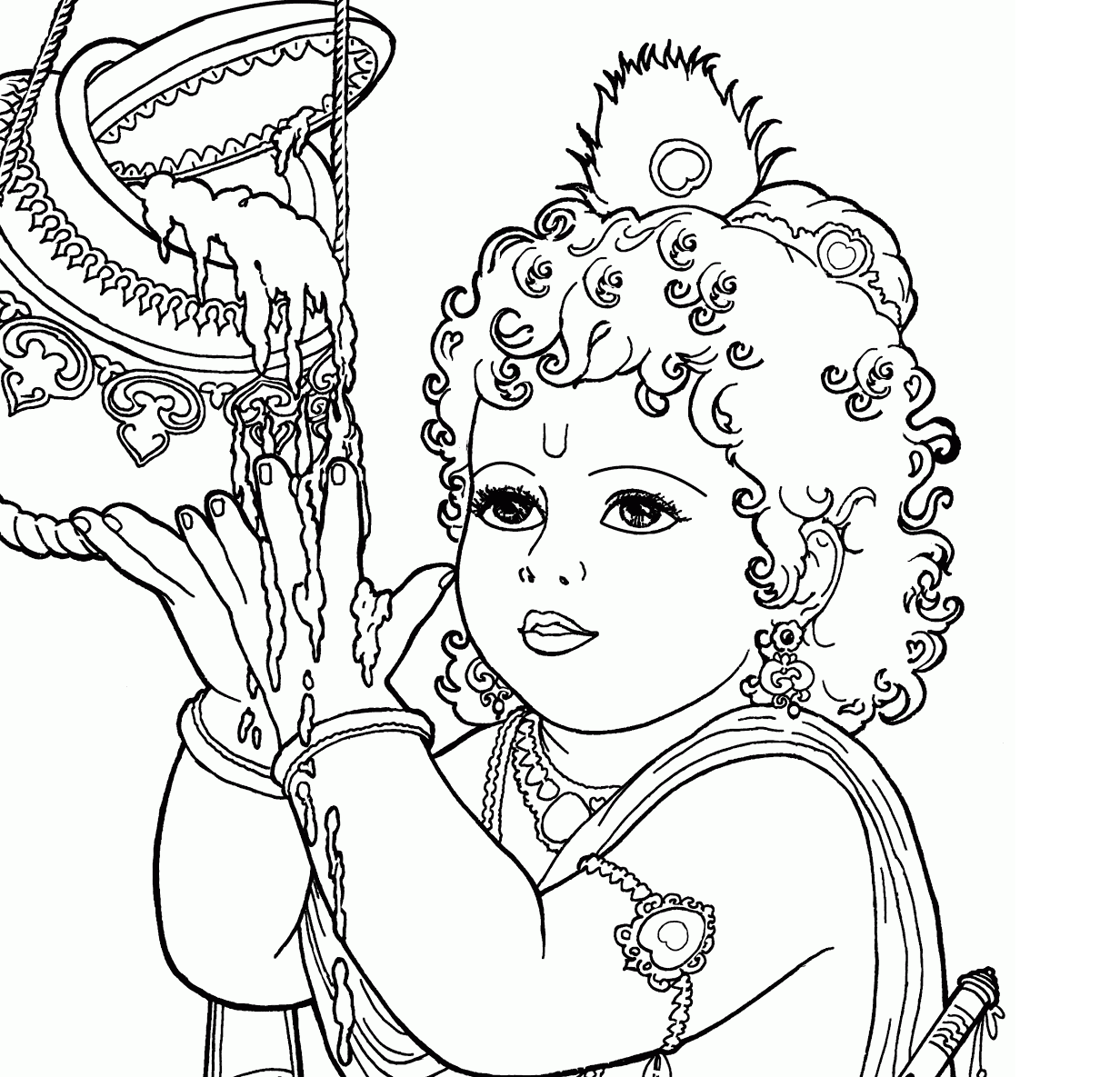 krishna pages for coloring - photo#18