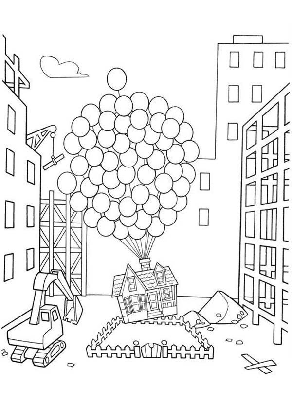 Amazing Flying House In Disney Up Coloring Page Netart Coloring Home