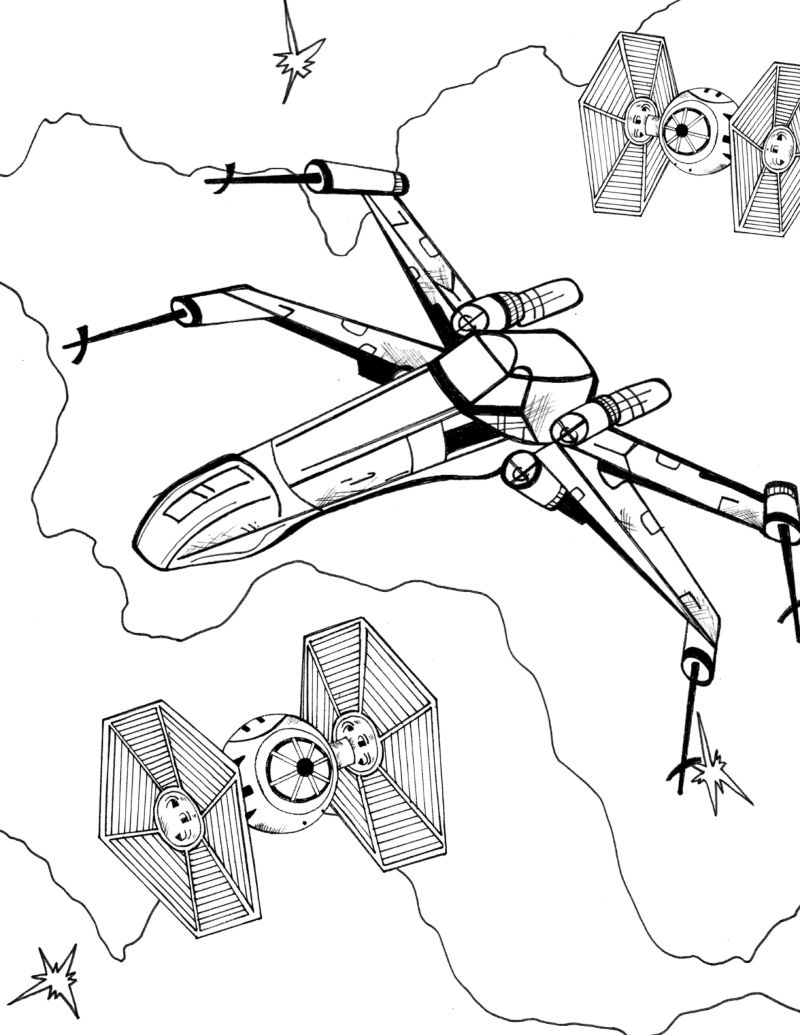 Rebel Alliance X-Wing Starfighter Coloring Page | Mama Likes This