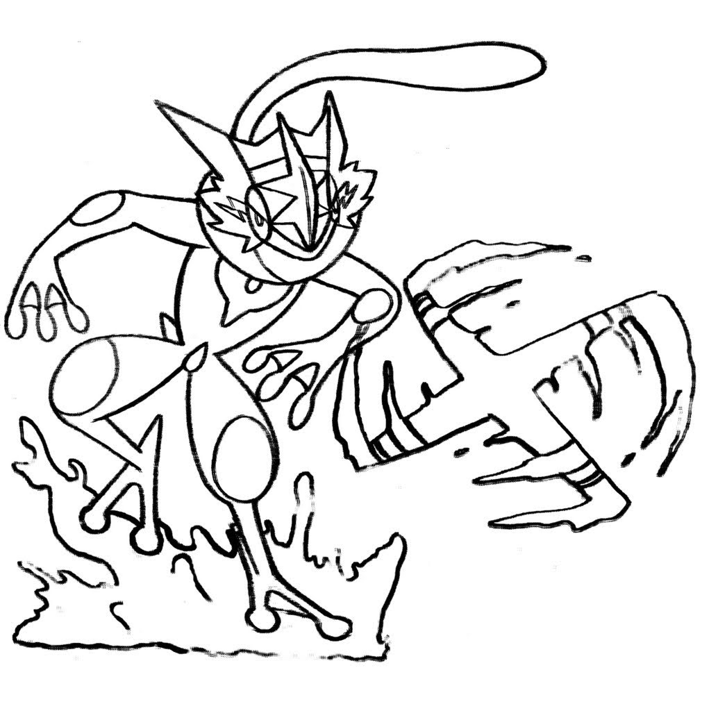 Greninja Coloring Pages of Pokemon - Free Pokemon Coloring Pages