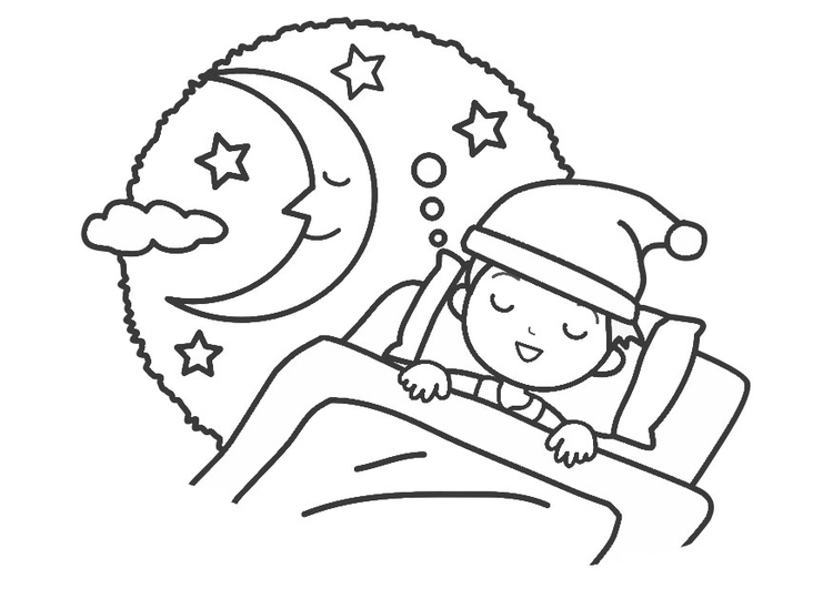 Coloring Page night - sleep - free printable coloring pages
