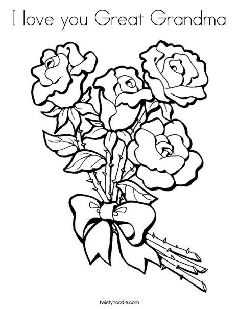 I love you Great Grandma Coloring Page - Twisty Noodle