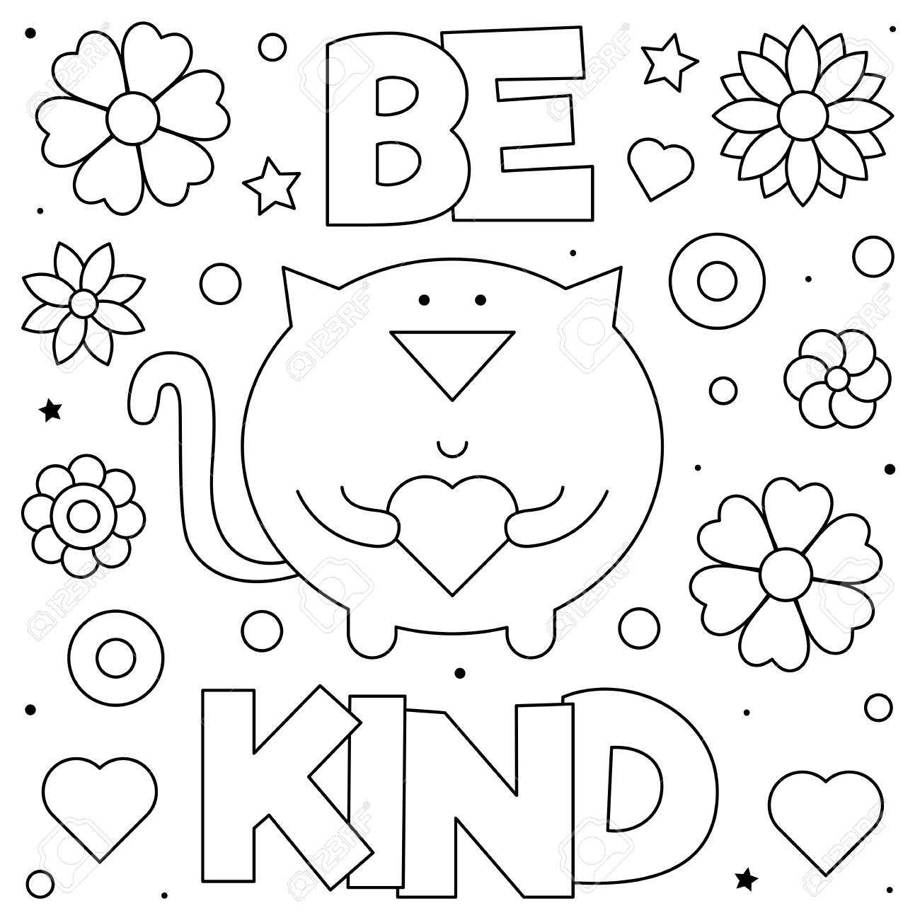 24+ Be Kind Coloring Page Colored