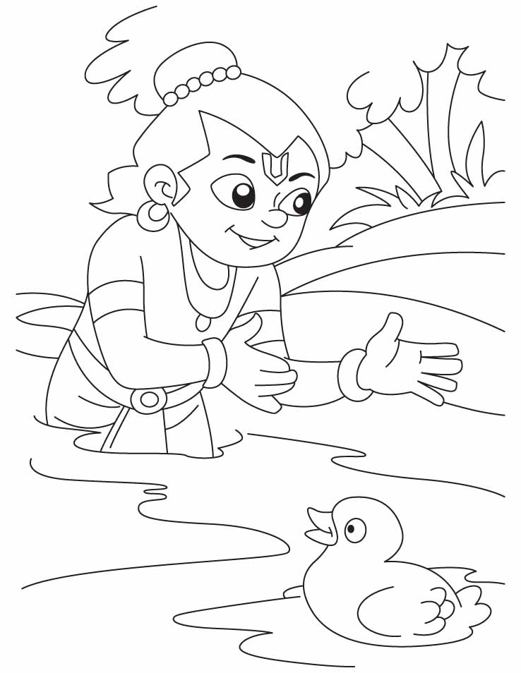krishna the bird lover playing with duck coloring pages download
