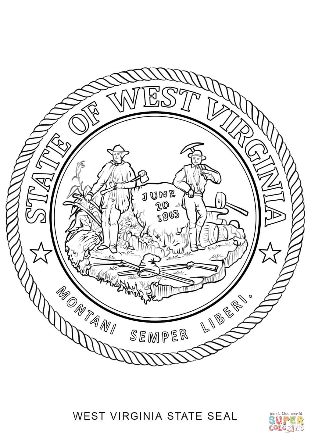 California State Seal Coloring Page Printable Adult Wild W...