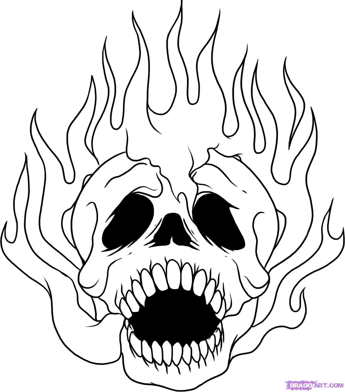 Coloring pages graffiti - 15 Pics Of Flaming Skulls Coloring Pages Graffiti Flaming Skull