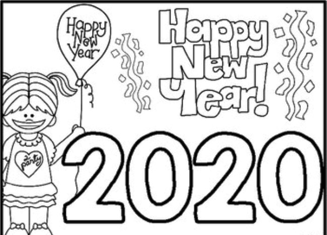Happy New Year Coloring Pages 2020 Pdf Free Printable Images Coloring Home