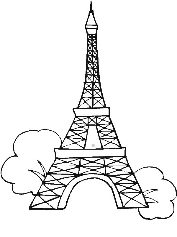 Eiffel Tower Children download Colouring Page   800x600