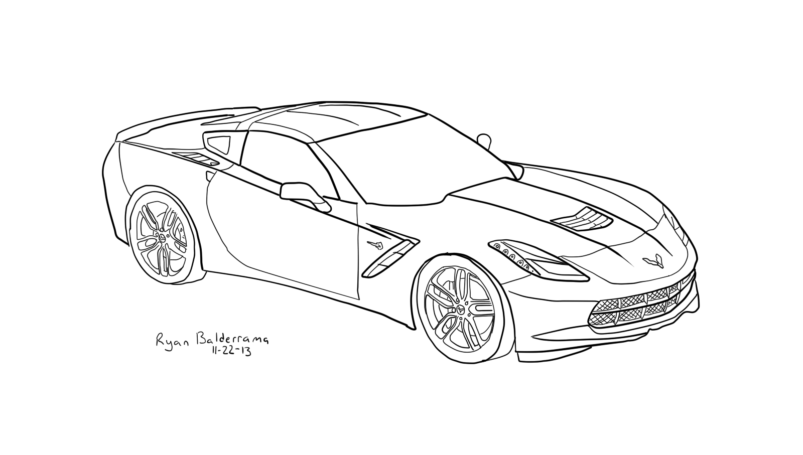 2010 Corvette Coloring Page Coloring Home