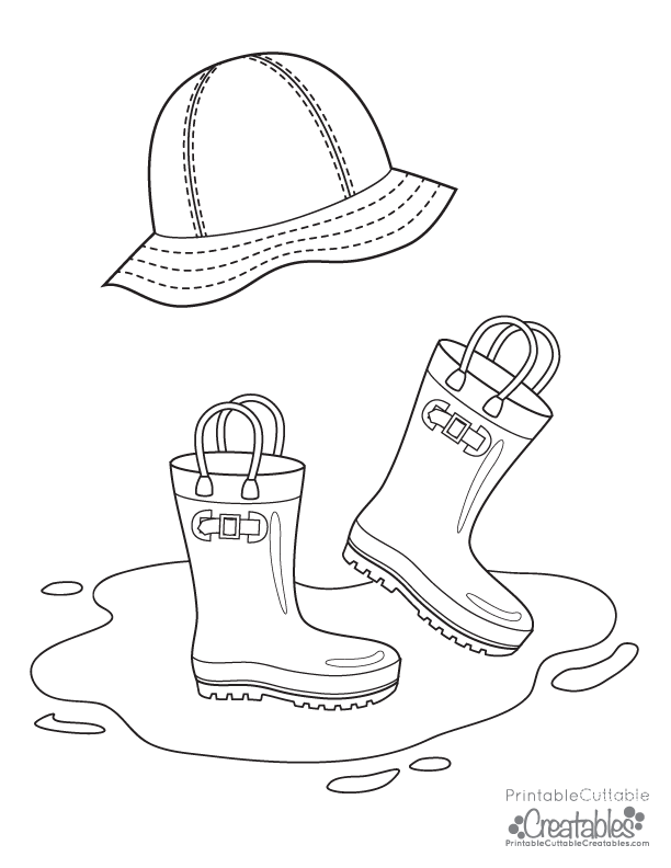 Rainboots & Rain Hat Free Printable Coloring Page