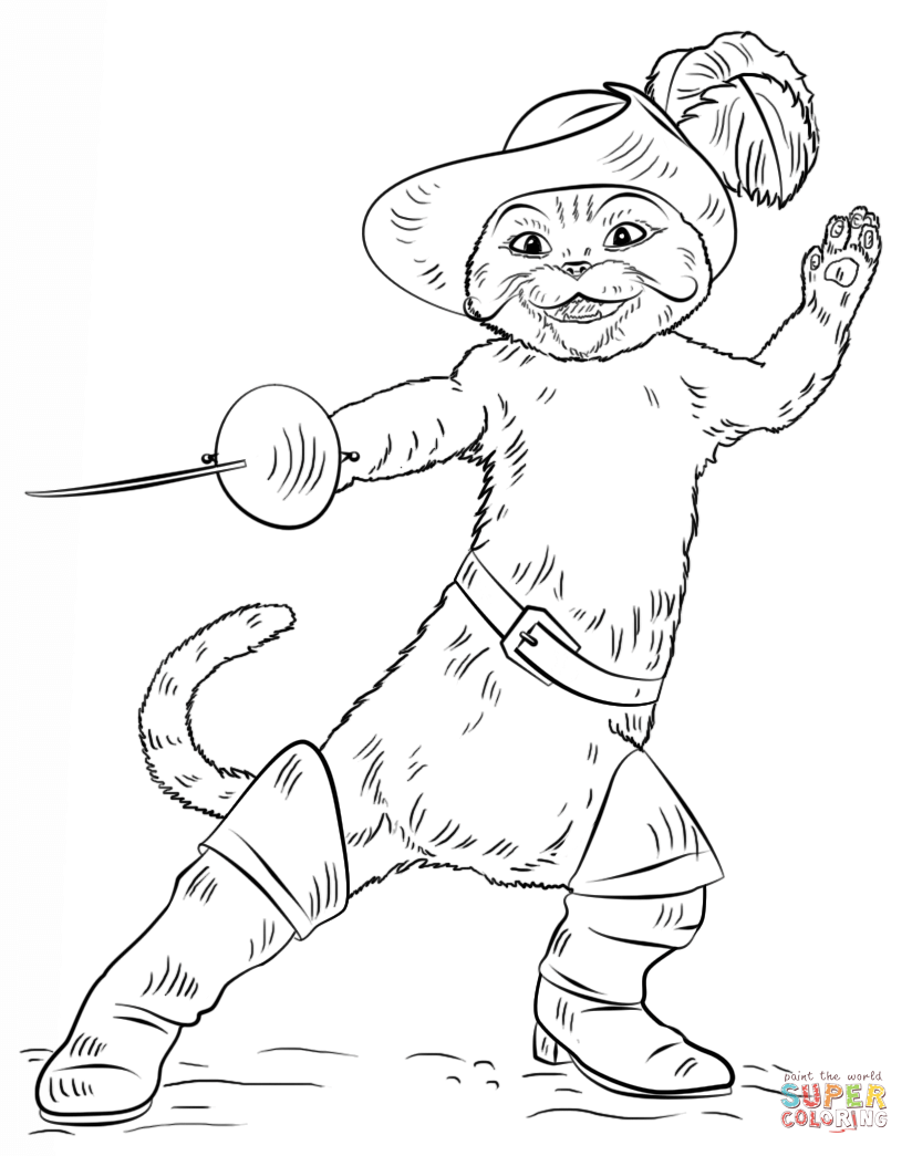 Puss In Boots Coloring Page - Coloring Home