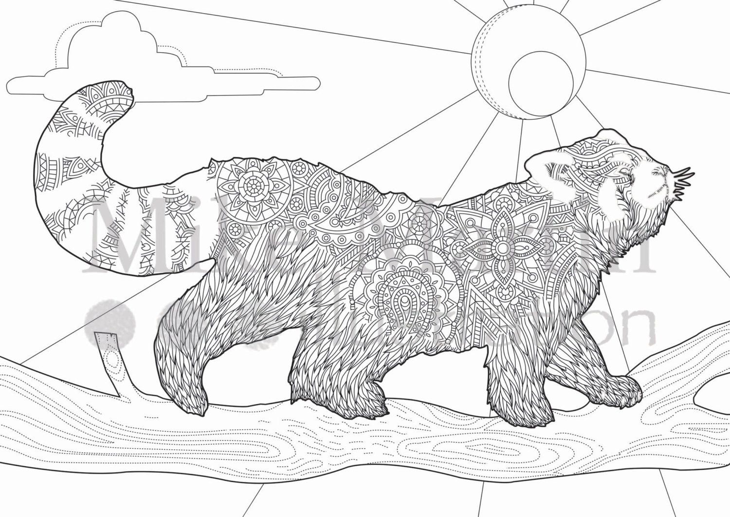 Printable Red Panda coloring page Instant by MJMIllustration