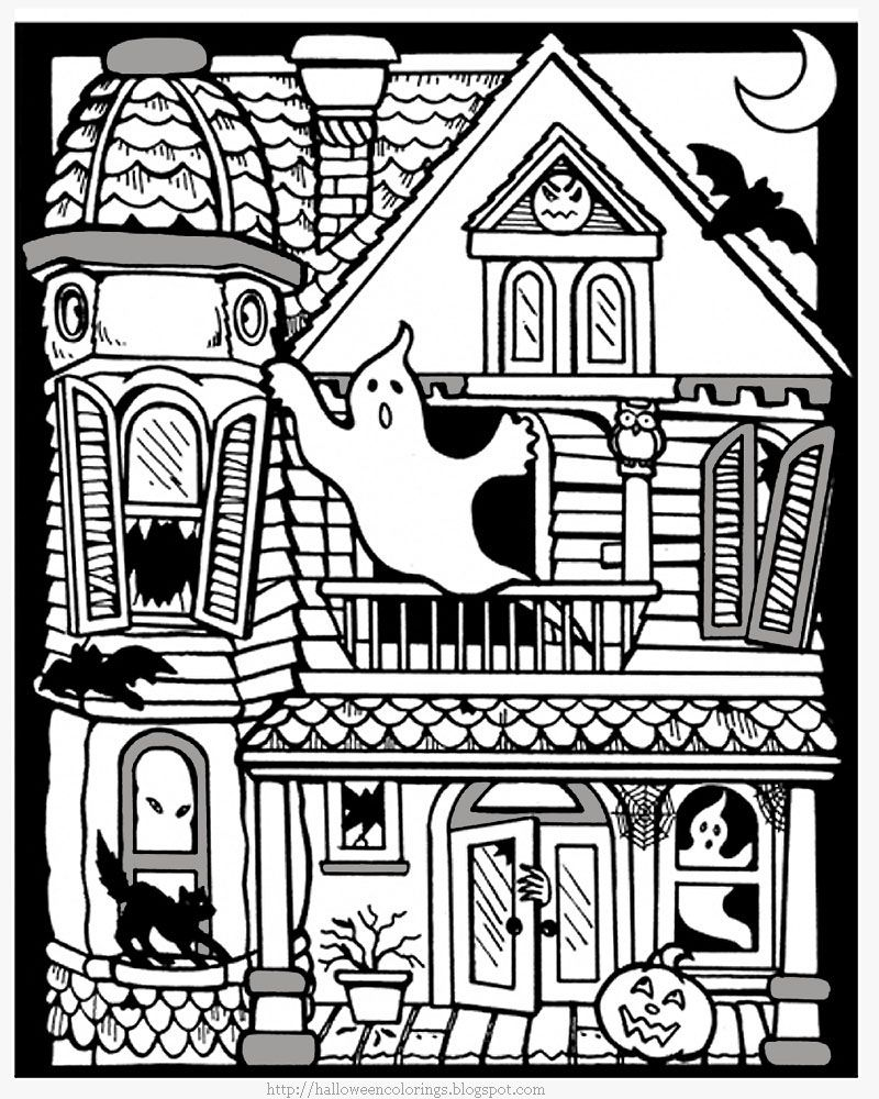 Coloring Pages: Free Coloring Pages Of Halloween Haunted House ...